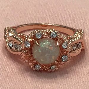 Rose Gold Ring With Simulated Opal